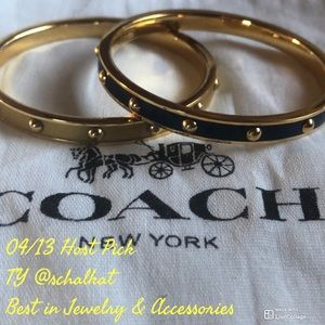 Two COACH Bracelets Enamel coated Gold Blue 2 1/2